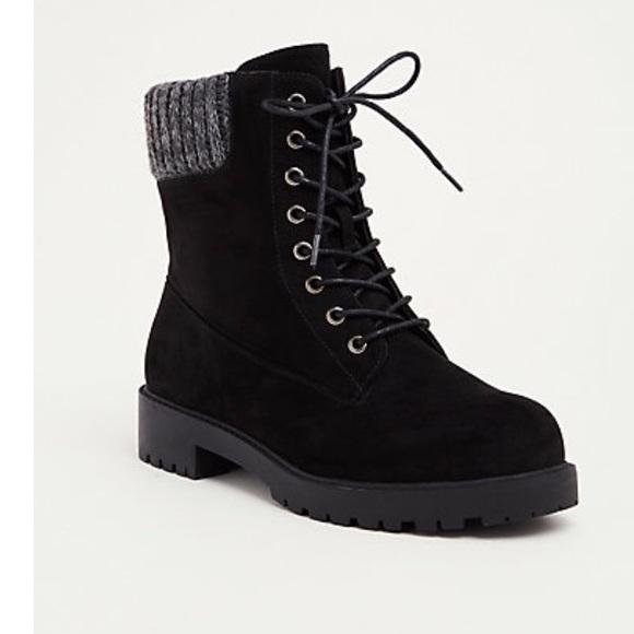 806f84760640 Torrid Sweater Knit Top Combat Boots (Wide Width)